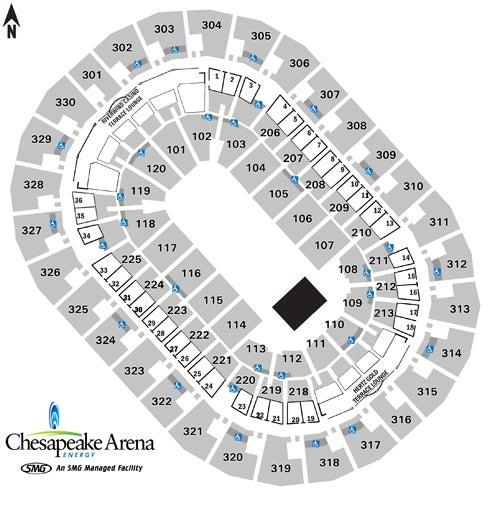 Seating Charts Chesapeake Energy Arena